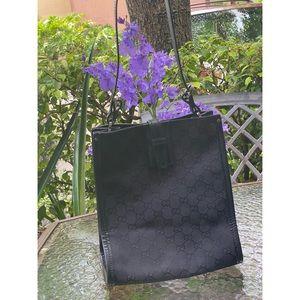 Gucci Black Canvas Tote Shoulder Bag